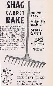 carpet rake. shag carpet rake - ad circa 1960s/70s