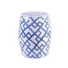 chen bamboo garden stool blue white