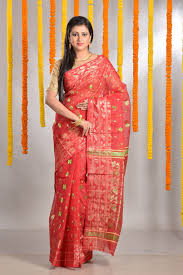 Usha Sridhar S Designer Sarees Chennai Red Dhakai Jamdani Saree Of Category A Grand Puja Collection