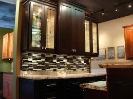 Clear Glass Backsplash Kitchen Best Narrow Kitchen Design Ideas With Darker Walnut