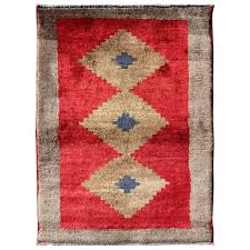 R Midcentury Turkish Tulu Rug With Diamond Design In Bright Red And Tan  Colors For Sale