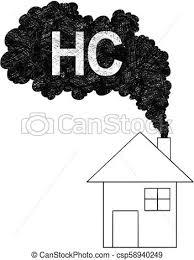 概念 家 イラスト 煙突 ベクトル 芸術的 煙 到来 Hc 図画 空気 あるいは 炭化水素 汚染