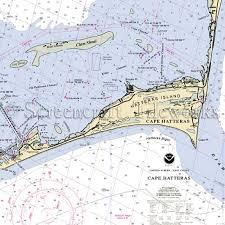 North Carolina Cape Hatteras Hatteras Island Clam Shoal Nautical Chart Decor