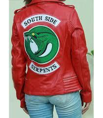 riverdale southside serpents womens cheryl blossom biker black leather jacket