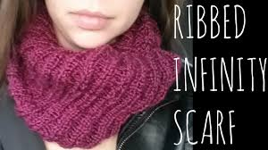 Knit Infinity Scarf Pattern Cool Ribbed Infinity Easy Knit Pattern Scarf Tutorial YouTube