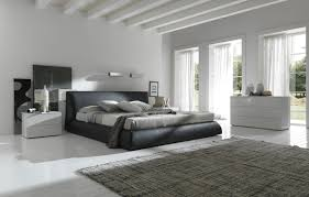 Bedroom:Modern Gray And White Bedroom With Leather Coated Bed Also White  Mdf Nightstands Modern