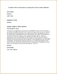 Complaint Letter To The Insurance Company About Unfair Accident