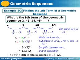 holt mcdougal algebra 1 geometric sequences example 2c finding the nth term of a geometric