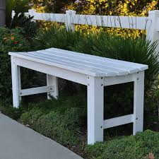 shine 4204wt outdoor patio 4 ft backless garden bench in white painted cedar