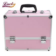 makeup case large pink cosmetic organizer train cases box with 4 trays cosmetic case foshan nanhai lucky case factory