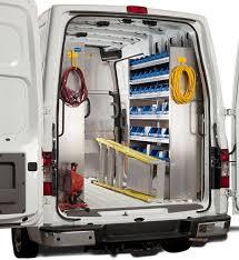 ranger design s plumbing van shelving and storage bin packages are designed with ergonomics in mind