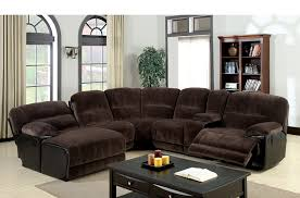 furniture america ladden elephant skin microfiber leather sectional sofas with recliners and cup holders sofa dark