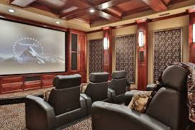 foam and fabric asheville traditional home theater also coffered ceiling custom cabinets leather armchairs theater wall panels wall sconces