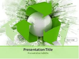 Download 3d Recycling Symbol Over Green Splashes Powerpoint