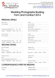 Wedding Photography Contract Form Wedding Photography Booking Form And Contract 2014