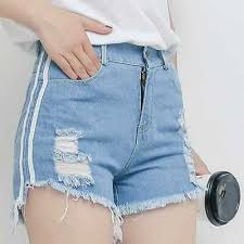 <b>Office lady summer</b> casual <b>OL</b> denim shorts <b>women</b> blue white black ...