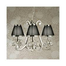 oksana stylish 3 light crystal chandelier in polished nickel finish with black shades 63505
