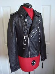 nwt belle vere small pebbled leather jacket womens black studded moto