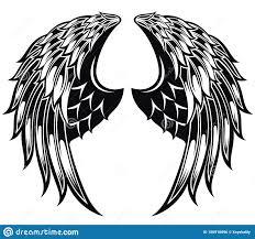 черно белые крылья ангела R иллюстрация вектора иллюстрации