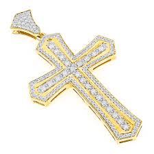 14k gold designer diamond cross pendant for men by luxurman 2 5ct yellow image