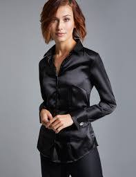 las plain black fitted luxury satin shirt double cuff hawes curtis