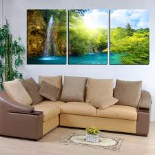 large canvas wall art waterfall painting landscape green forest lake wall pictures home decor 3 piece set no frame in painting calligraphy from home  on 3 piece framed wall art for sale with large canvas wall art waterfall painting landscape green forest lake