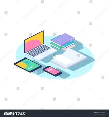 isometric office furniture vector collection. Office Furniture Vector Concept. Isometric Laptop, Phone, Books. Illustration Of Work Place Collection N