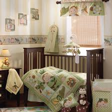 green baby girl monkey themed bedding beige rattan window blinds brown lacquered wood modern baby crib