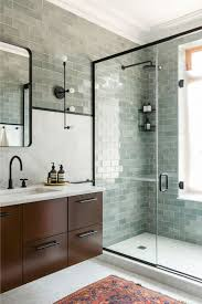 bathroom tile grey subway. Excellent Grey Subway Tile For Beautiful Shower Bathroom With Southwestern Rug