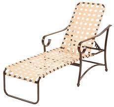 barbados cross weave vinyl strap chaise lounge