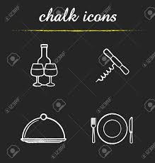 レストラン キッチン機器のアイコンを設定しますワインの瓶とグラスコルク栓抜き皿フォークプレ