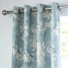 Pale Blue Curtains Pencil Pleat White And Navy Geometric Small ...