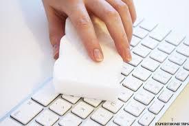 clean keyboard with magic eraser