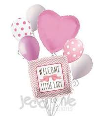 pink welcome welcome little lady pink bow baby girl balloon bouquet jeckaroonie