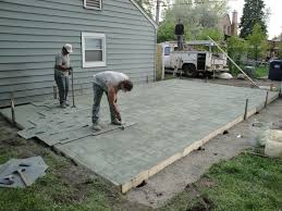 gorgeous poured concrete patio wood stamped