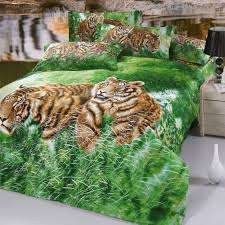 brown grass green animal tiger print jungle safari themed twin full size 3d bedding set design own 3d bedding sets personal touch