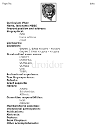 Medical Doctor Curriculum Vitae Example Http Www Resumecareer