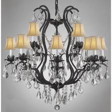versailles 12 light black wrought iron and crystal chandelier with white shades