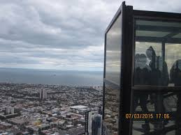 the edge on the 88th floor of the eureka skydeck a glass cube which projects