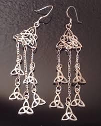 3 38 long sterling celtic trinity chandelier dangle