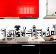 Kitchen Backsplash Red Retro Kitchen With Vintage Backsplash Mural Also Glossy Red Wall