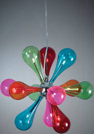 multi coloured glass 9 light pendant chrome