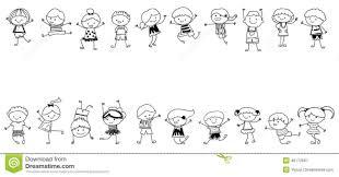 Groupe D Enfants Croquis De Dessin Illustration De Vecteur Pour Dessiner Un Enfant L