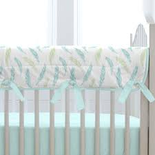 aqua feathers and stripes crib bedding