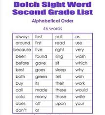 Second Grade Dolch Sight Words Dolch Lists Flash Cards