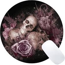 Wknoon <b>Vintage</b> Pink Rose <b>Skull</b> Design Round Mouse Pad Retro ...
