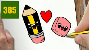 cute drawing for kids how to draw a pencil in love cute easy stepstep drawing