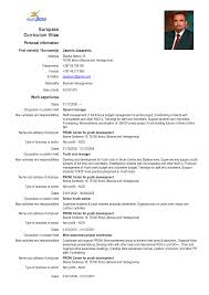 Outstanding Curriculum Vitae European Format Word Sketch