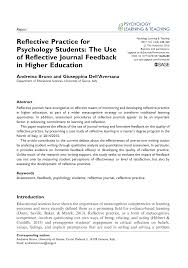 Pdf Reflective Practice For Psychology Students The Use Of