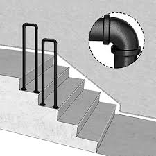 Most handrail profiles are made with two main router bits that create adjoining profiles, one mills a curved recess to accommodate fingertips, and a run of ash hand rails, ready for prefinishing and installation as part of a stair railing. Amazon Com 2 Step Transitional Handrail For Stair U Shaped Matte Black Railing Wrought Iron Stair Rail With Installation Kit Hand Rails Indoor And Outdoor For Stairs Balustrade Balcony Size 35cm Home Kitchen